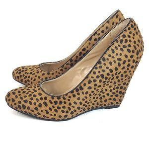 Banana Republic Maisie Leopard Print Fur Wedge 7